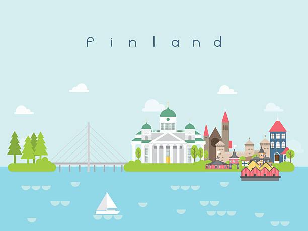 Finland Landmarks Travel and Journey Vector 벡터 아트 일러스트