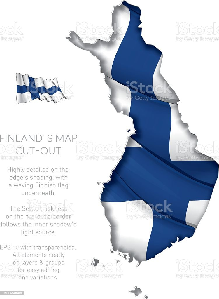 Finland Map Cut-Out with Waving Flag vector art illustration