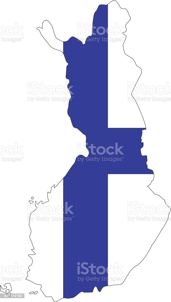Finland map vector art illustration