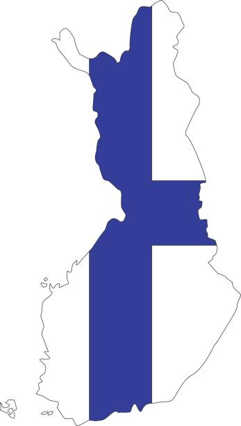 finland map - finnish flag stock illustrations, clip art, cartoons, & icons
