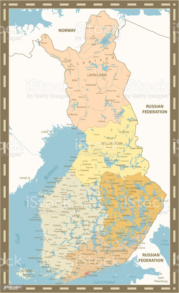 Finland Map Vintage Color Stock Vector Art More Images of