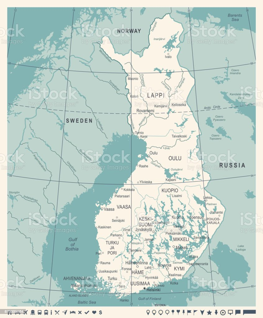 Finland map vintage detailed vector illustration stock vector art finland map vintage detailed vector illustration royalty free finland map vintage detailed vector illustration gumiabroncs Images