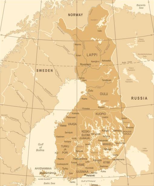finnland karte - vintage detaillierte vektor-illustration - ostsee stock-grafiken, -clipart, -cartoons und -symbole