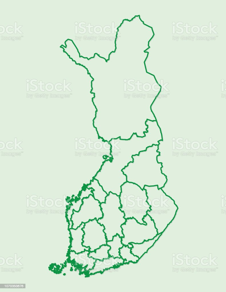 Finnland Karte Regionen.Finnland Karte Mit Verschiedenen Regionen Mit Grunen Linien