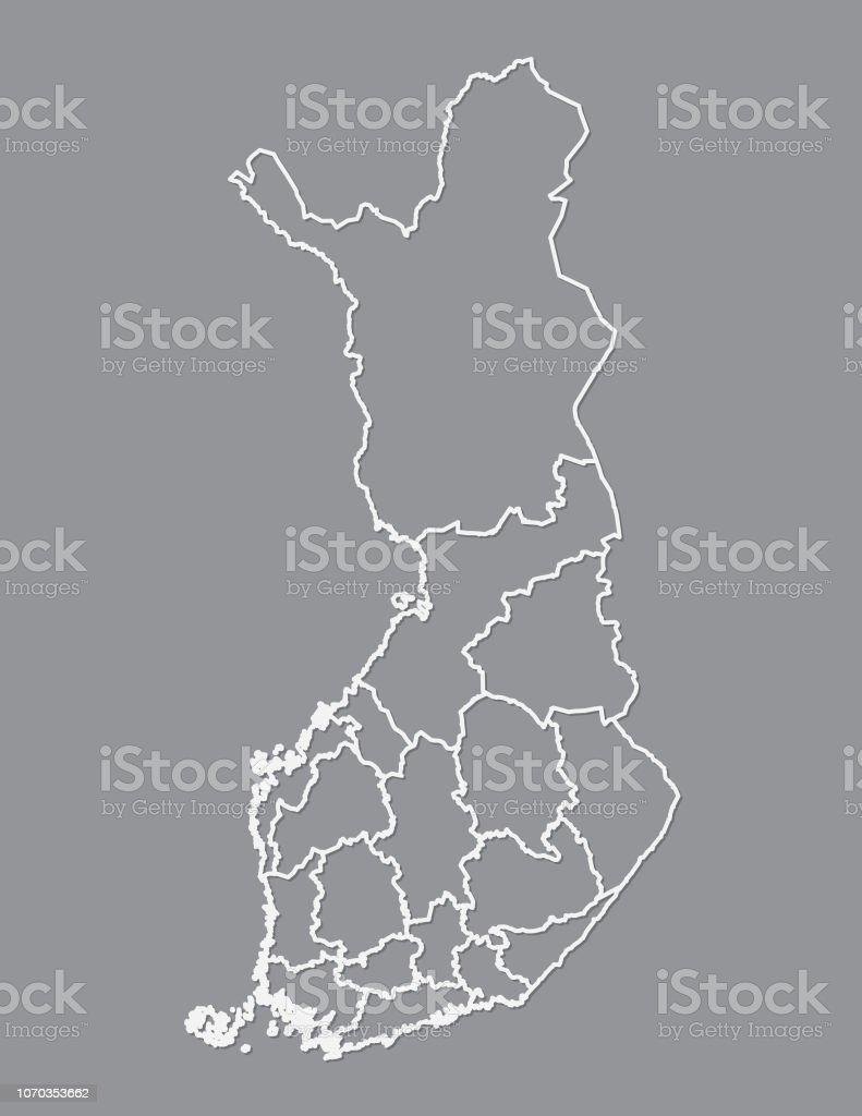 Finnland Karte Regionen.Finnland Karte Mit Verschiedenen Regionen Mit Weissen Linien