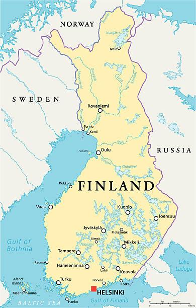 finnland politische karte - ostsee stock-grafiken, -clipart, -cartoons und -symbole