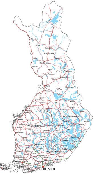 landstraße und autobahnkarte finnland. vector illustration. - ostsee stock-grafiken, -clipart, -cartoons und -symbole