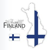 Finland ( Republic of Finland ) ( flag and map ) ( transportation and tourism concept )