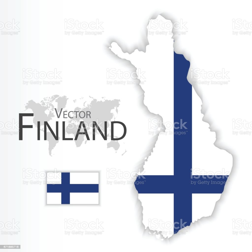 Finland ( Republic of Finland ) ( flag and map ) ( transportation and tourism concept ) vector art illustration