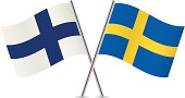 Finnish and Swedish flags. Vector.