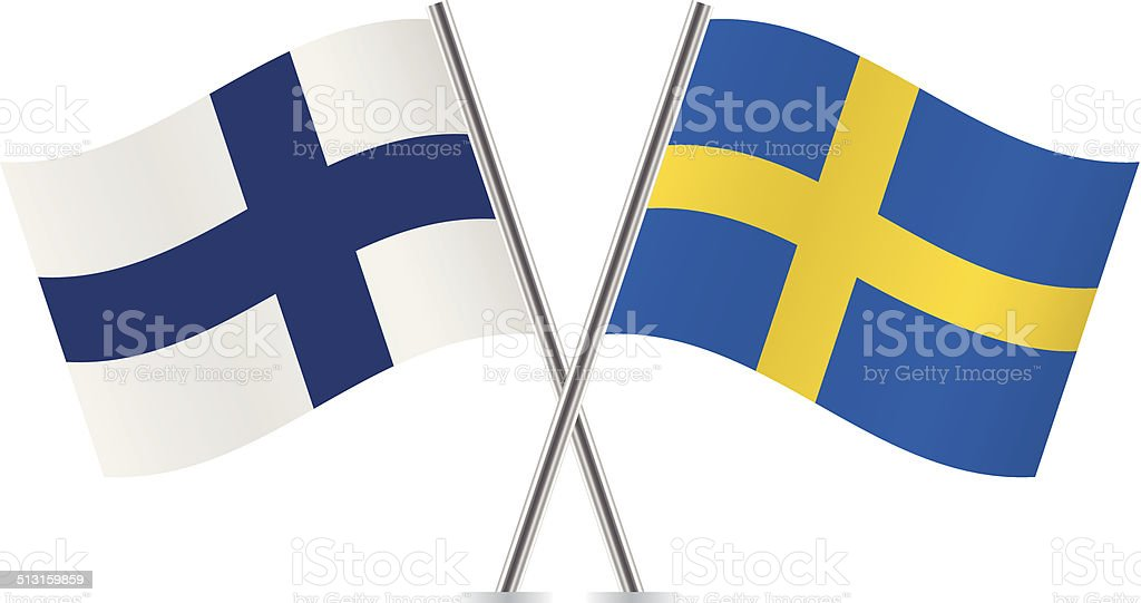 Finnish and Swedish flags. Vector. vector art illustration