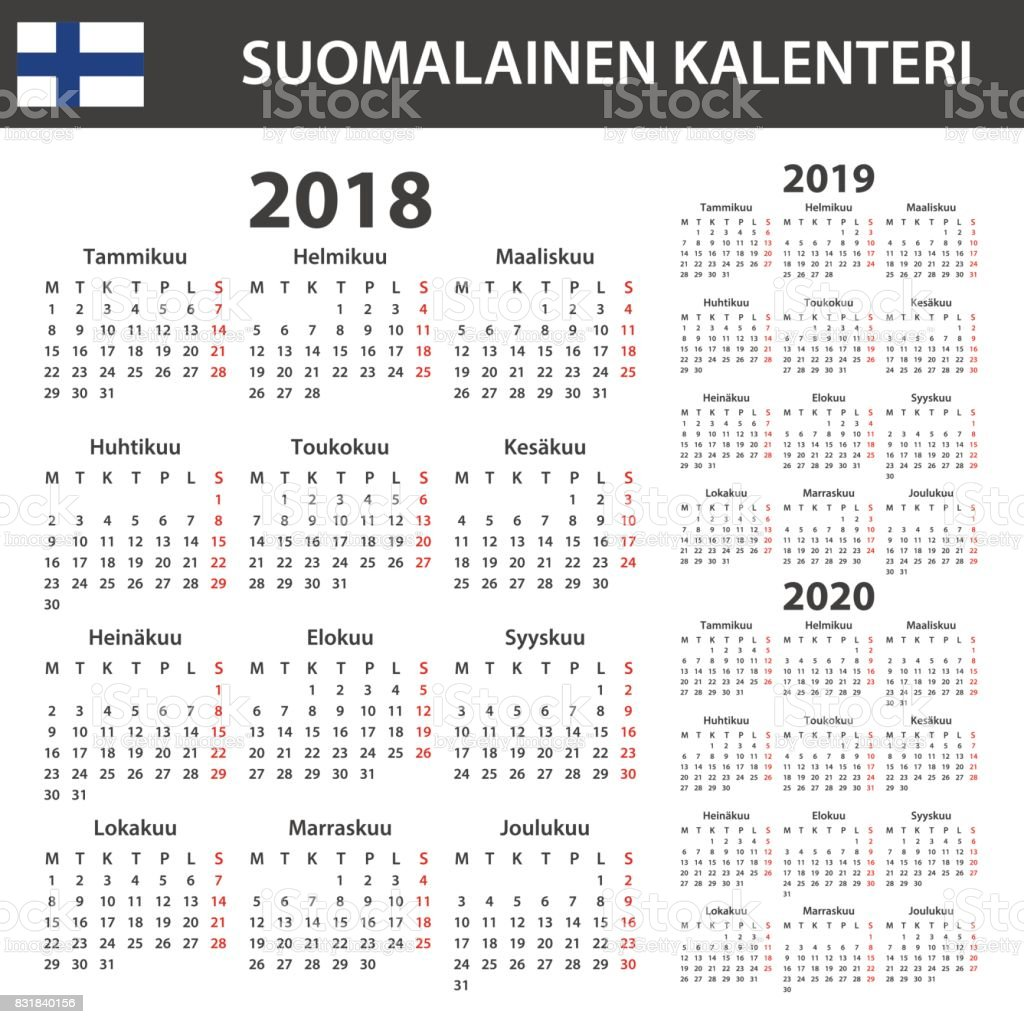 Tps Calendar.Finnish Calendar For 2018 2019 2020 Scheduler Agenda Or Diary