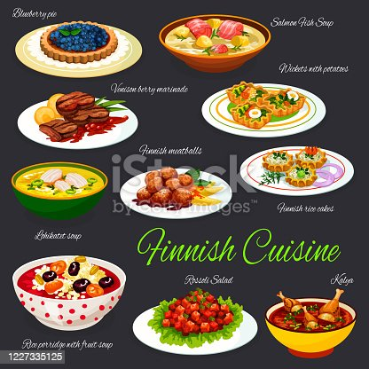 istock Finnish cuisine meals, traditional menu dishes 1227335125