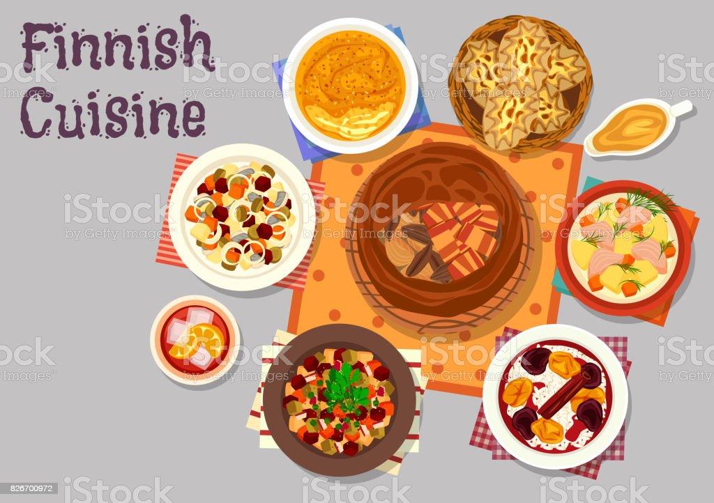 Finnische Küche Traditionelle Gerichte Icondesign Stock Vektor Art ...