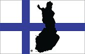 Finnish flag and map