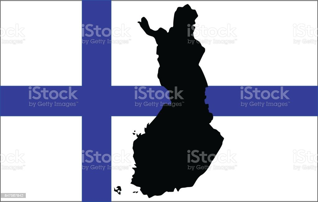 Finnish flag and map vector art illustration