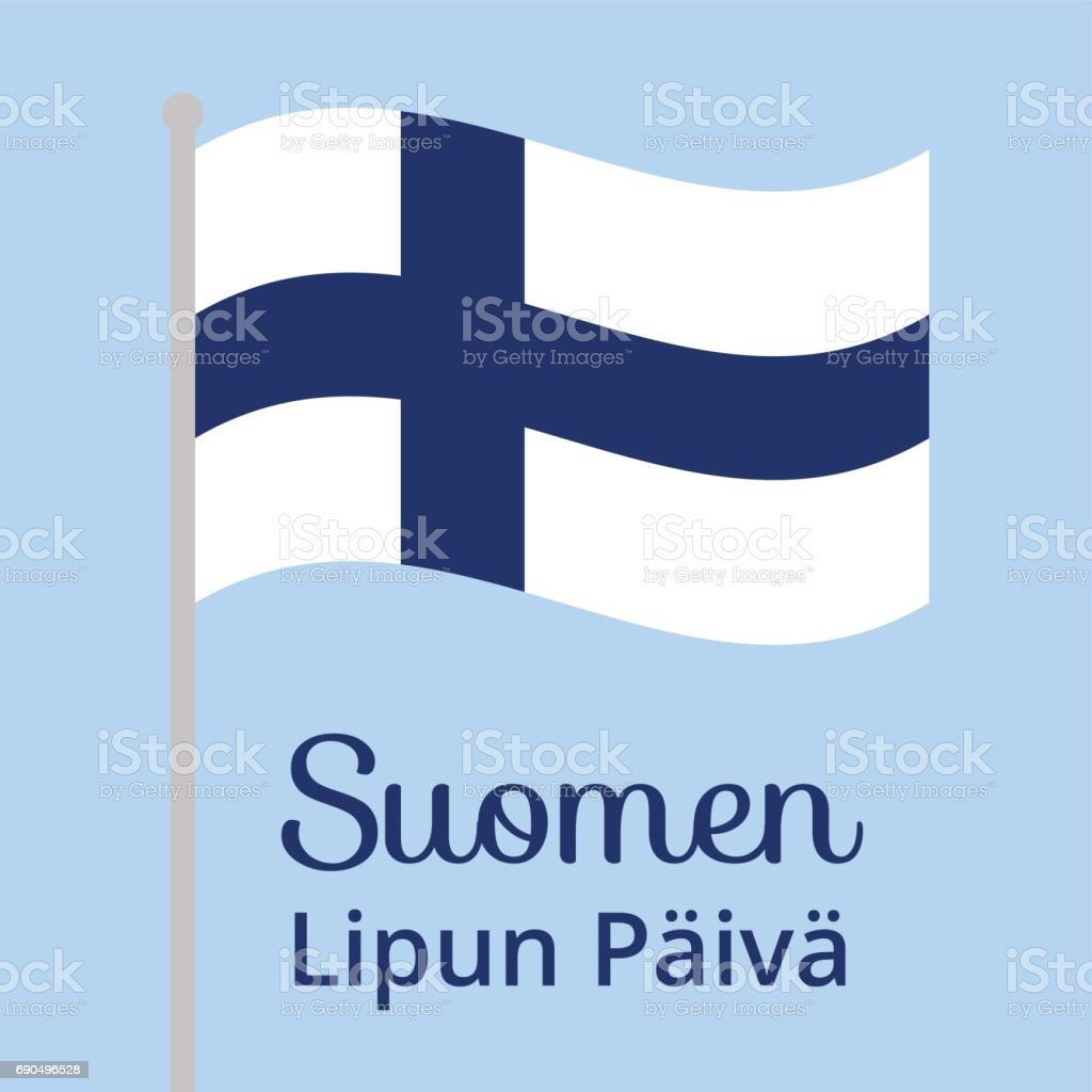 Finnish flag day vector art illustration