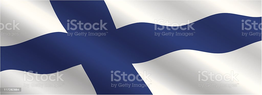 Finnish Flag Flying in the Wind vector art illustration