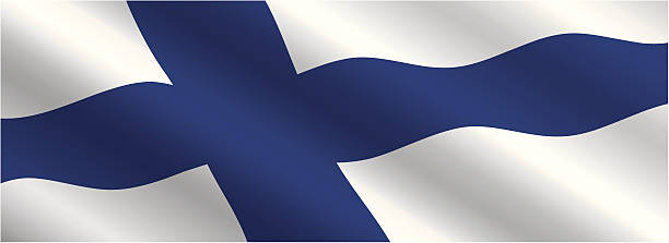 finnish flag flying in the wind - finnish flag stock illustrations, clip art, cartoons, & icons