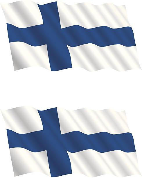 フィンランドの国旗を風に飛ぶ - フィンランドの国旗点のイラスト素材/クリップアート素材/マンガ素材/アイコン素材
