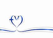 Finnish flag heart-shaped ribbon. Vector illustration.