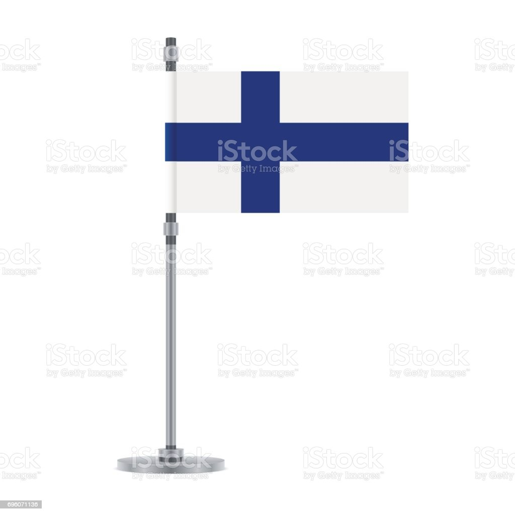 Finnish flag on the metallic pole, vector illustration vector art illustration