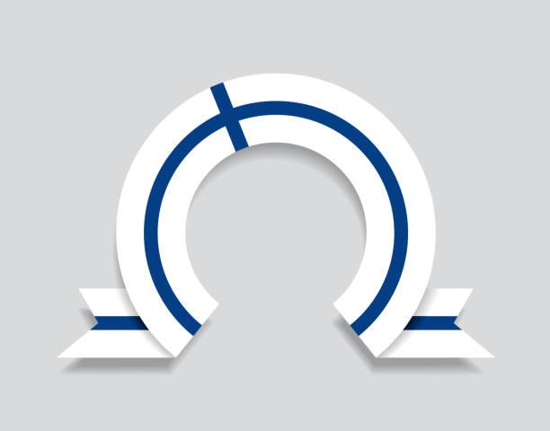 ilustraciones, imágenes clip art, dibujos animados e iconos de stock de fondo abstracto redondeado de la bandera finlandesa. ilustración vectorial. - bandera finlandesa