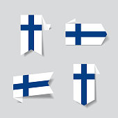 Finnish flag stickers and labels. Vector illustration.