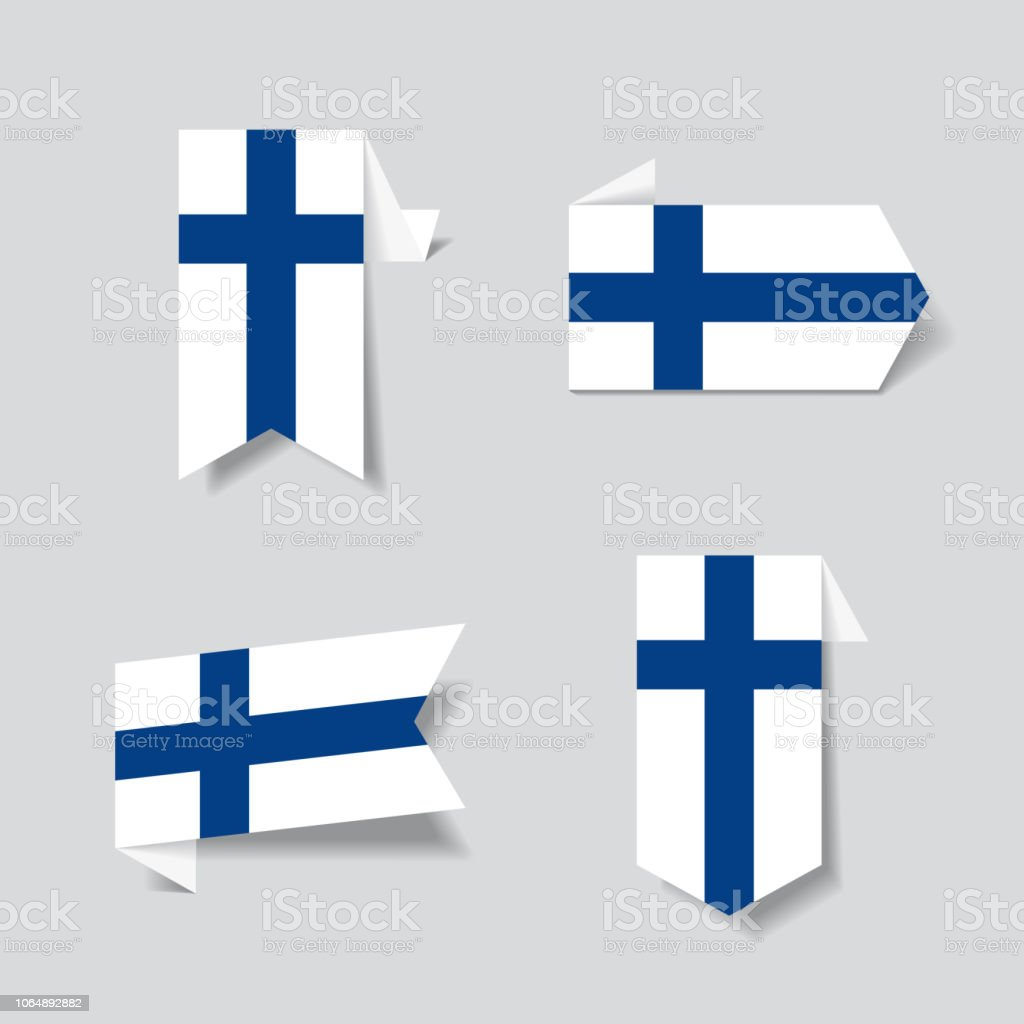 Finnish flag stickers and labels. Vector illustration. vector art illustration