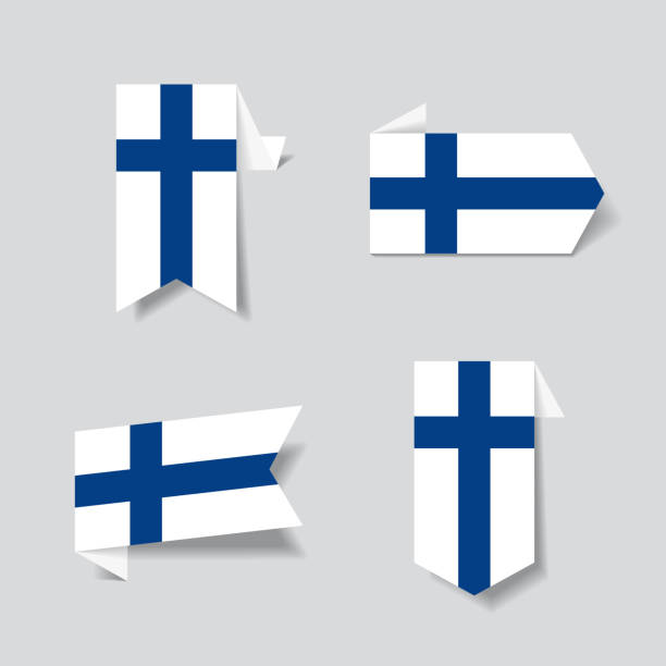 finnish flag stickers and labels. vector illustration. - finnish flag stock illustrations, clip art, cartoons, & icons