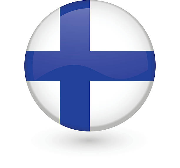 finnish flag vector button - finnish flag stock illustrations, clip art, cartoons, & icons