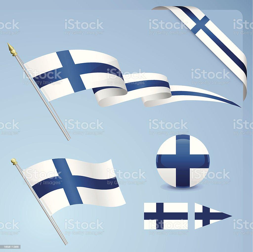 フィンランドの国旗 ベクターアートイラスト