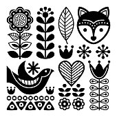 Finnish folk art pattern - Scandinavian, Nordic style