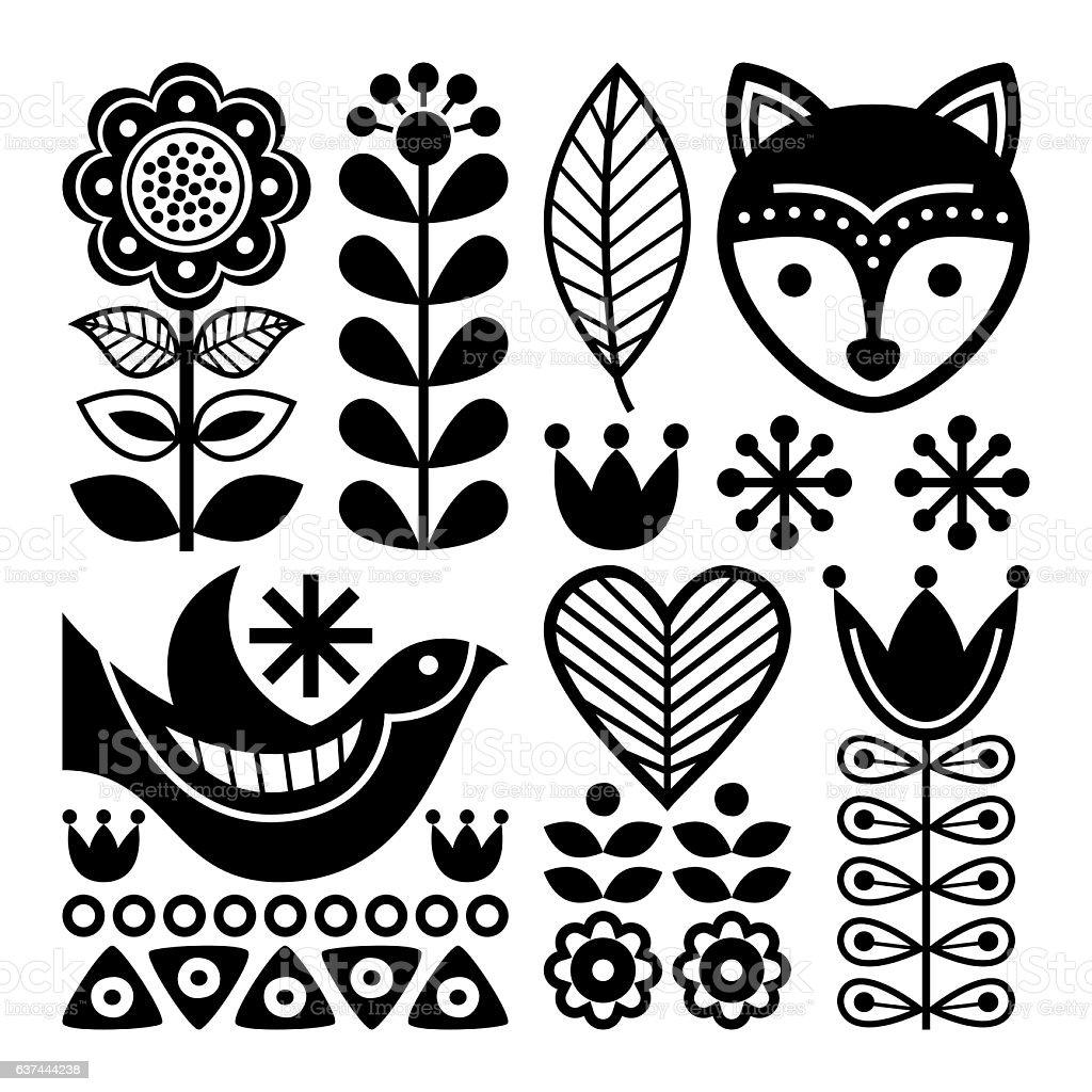 Finnish folk art pattern - Scandinavian, Nordic style vector art illustration