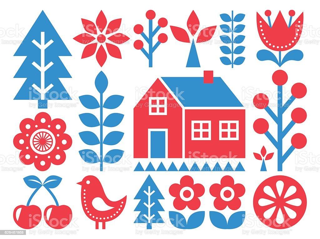 Finnish inspired folk art pattern - Scandinavian, Nordic style vector art illustration