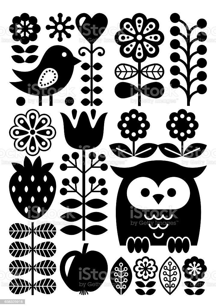 Finnish inspired folk art pattern - Scandinavian, Nordic style - monochrome vector art illustration