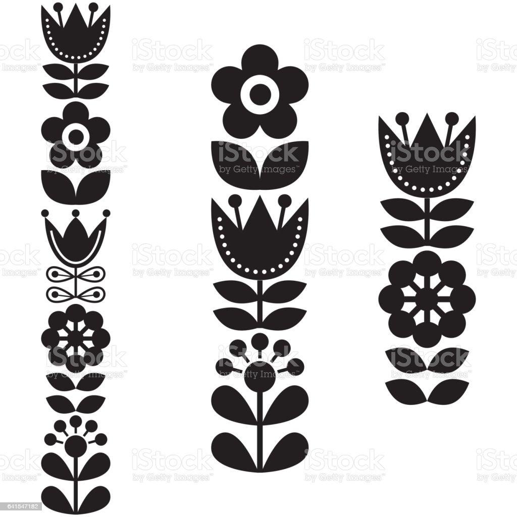 Finnish inspired long folk art pattern - Nordic, Scandinavian style vector art illustration