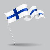 Finnish pin wavy flag. Vector illustration.