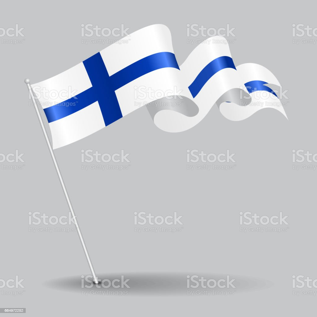 Finnish pin wavy flag. Vector illustration. vector art illustration