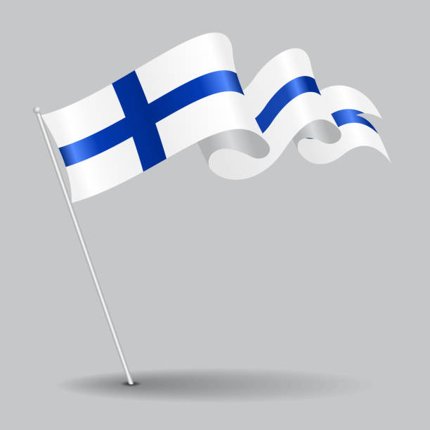 finnish pin wavy flag. vector illustration. - finnish flag stock illustrations, clip art, cartoons, & icons