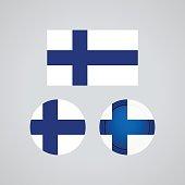 Finnish trio flags, vector illustration