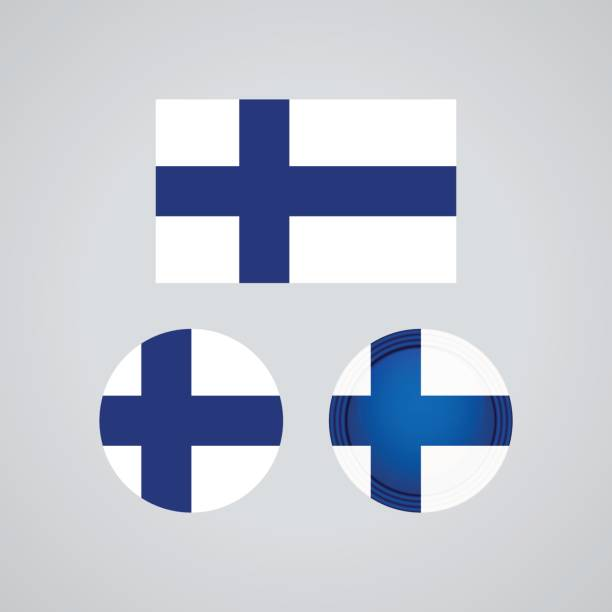 finnish trio flags, vector illustration - finnish flag stock illustrations, clip art, cartoons, & icons