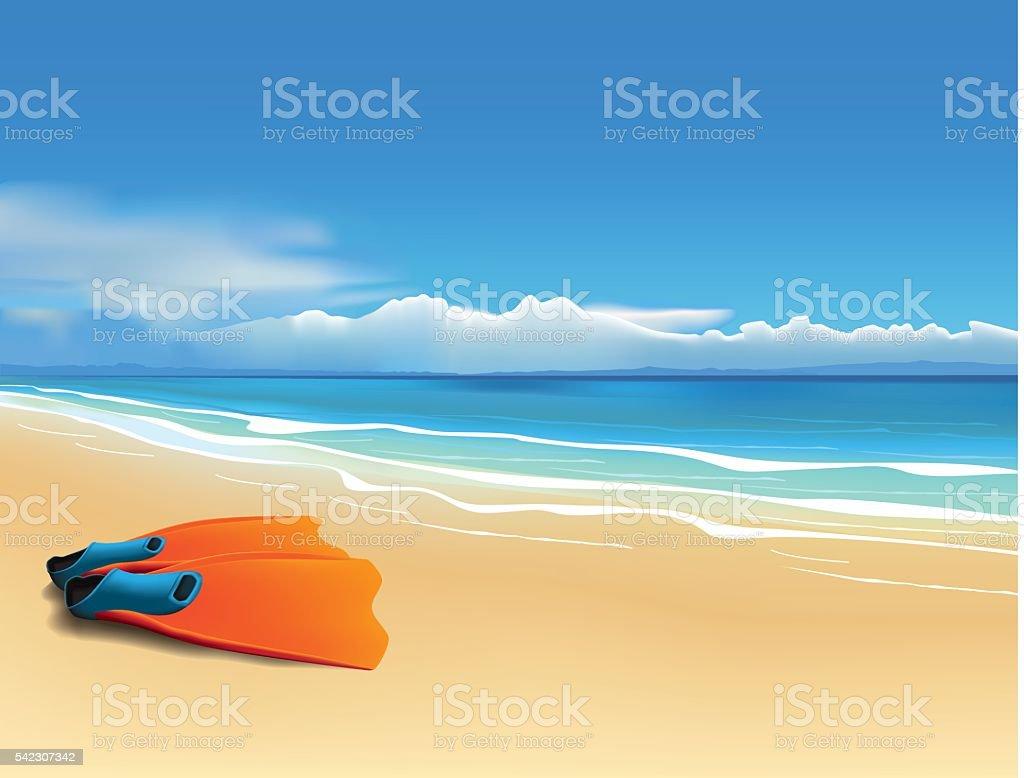 Fins on the beach vector art illustration