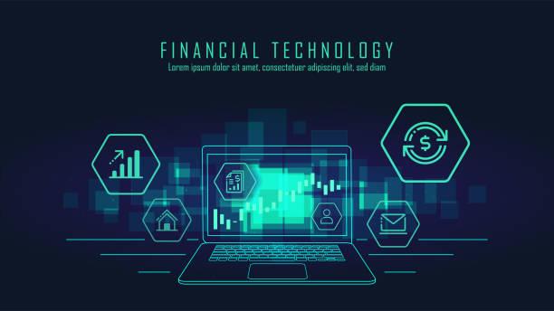 фин-технологии и блок цепи технологии графических - white background stock illustrations
