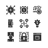 Fintech, Blockchain, Mobile Banking, Digital Currency, Financial Data Analysis, Crowd Funding, Banking Services, Digital Wallet, Encryption, Fintech Innovation, Money Transfer, Payment Gateway, Fraud Detection, Electronic Signature, Invoice Trading, Tax Regulation, Peer to peer, Robo Advisor Icon Design