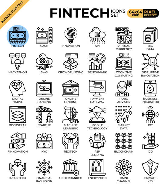 Fintech (Financial Technology) concept icons vector art illustration