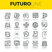 Unique thin line icons set of fintech industry, finance digitization. Premium quality outline symbol collection. Modern linear pictogram pack of metaphors. Stroke vector logo concept for web graphics.