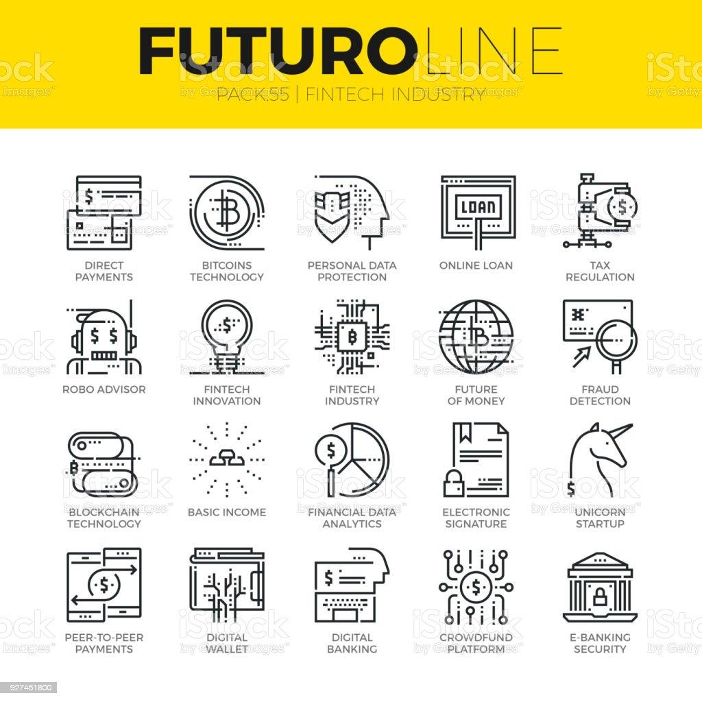 Fintech Industry Futuro Line Icons vector art illustration