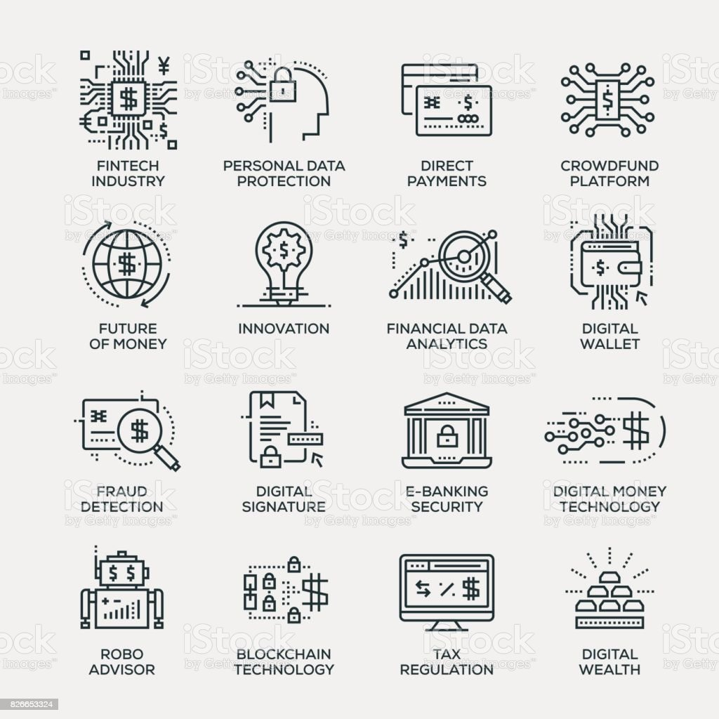 Fintech industrie Icon Set - série en ligne - Illustration vectorielle