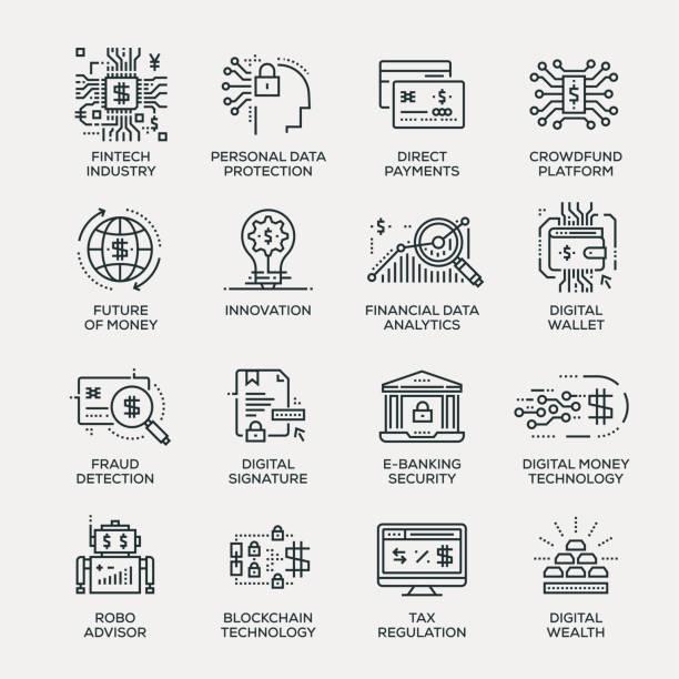 Fintech industrie Icon Set - série en ligne - Illustration vectorielle